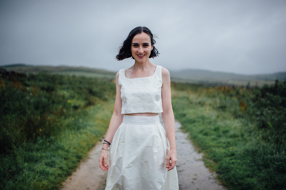 A Two-Piece Susie Stone Wedding Dress, Wild Flowers and Rain for a Fun, Seaside Wedding in Scotland