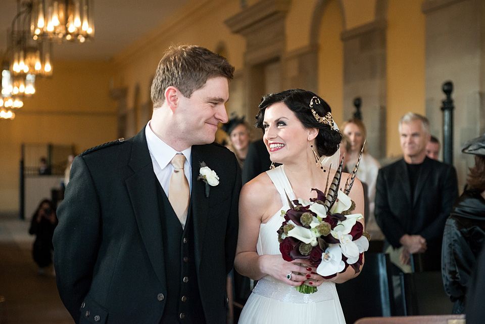 Marcel Waves and Amanda Wakeley Elegance for a Glamorous Gold and Black Winter Wedding