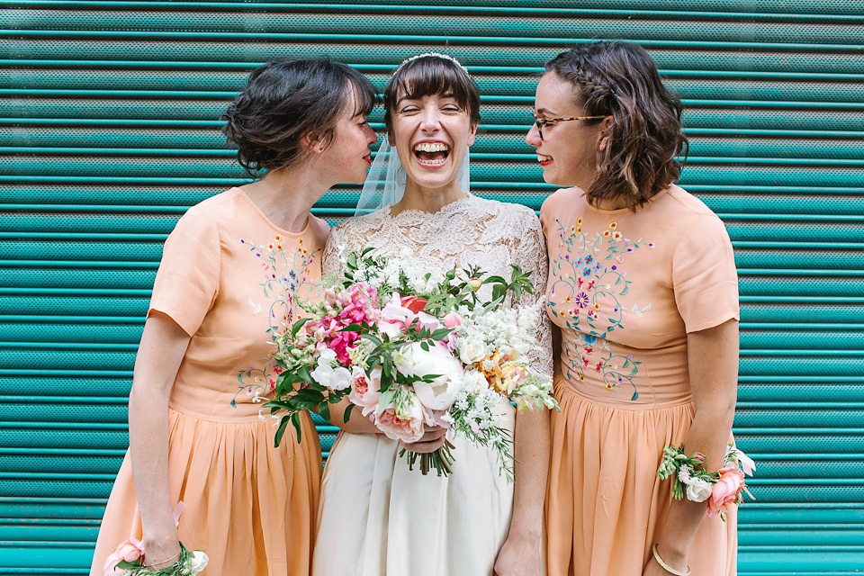 A 50's Vintage Dress and Bridesmaids in Peach and Pretty Wrist Corsages