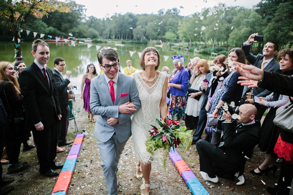An 1920's Flapper Dress for a Colourful and Eccentric Lakeside Wedding
