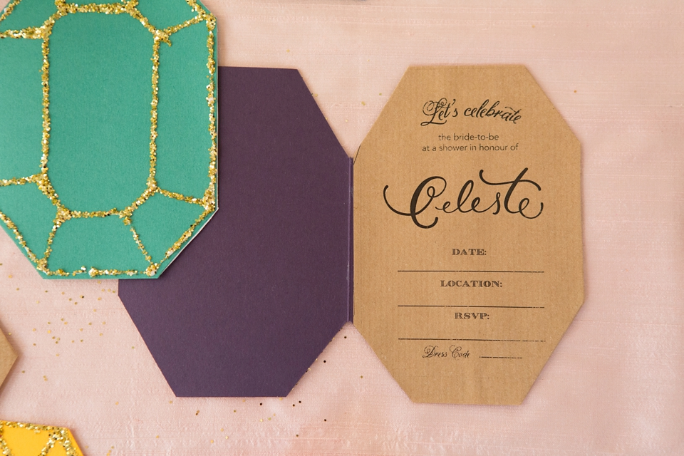 Make Your Own Glittery Gem Inspired Bridal Shower Invitations (DIY Projects )