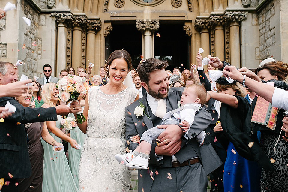 Jenny Packham's 'Esme' for a Mint Green and Pink Summer Wedding in London