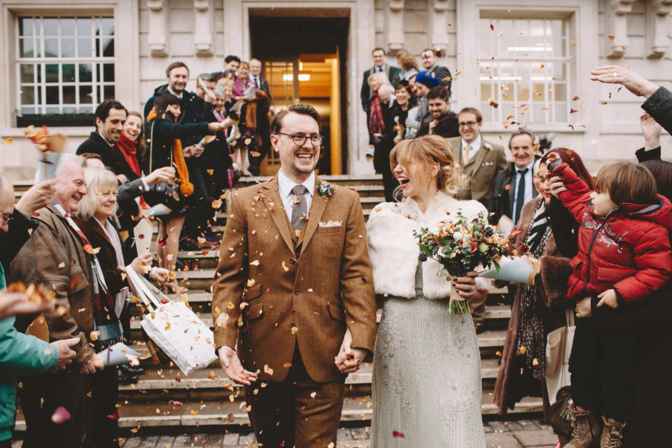 A 1920s Inspired Gown For A Colourful and Eclectic East London Pub Wedding