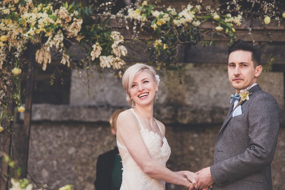 Shades of Peach and Yellow for a Handmade Spring Wedding in Cornwall (Weddings )