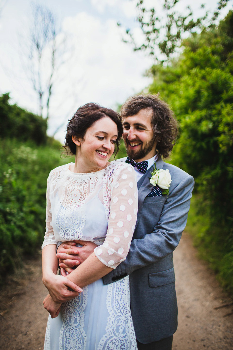 A Pale Blue Wedding Dress for a Pretty Spring Time Barn Wedding