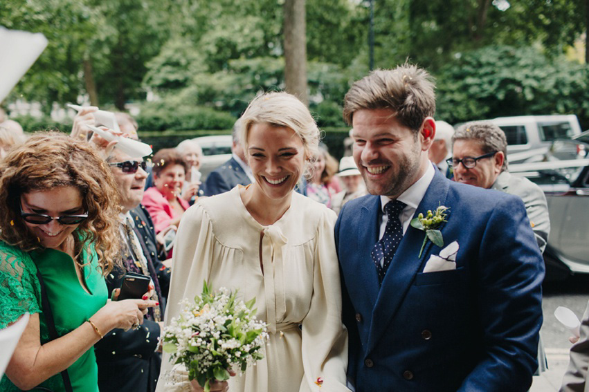 A 1970's Ossie Clarke Dress for an Elegant Jewish and Christian Wedding at Home House London