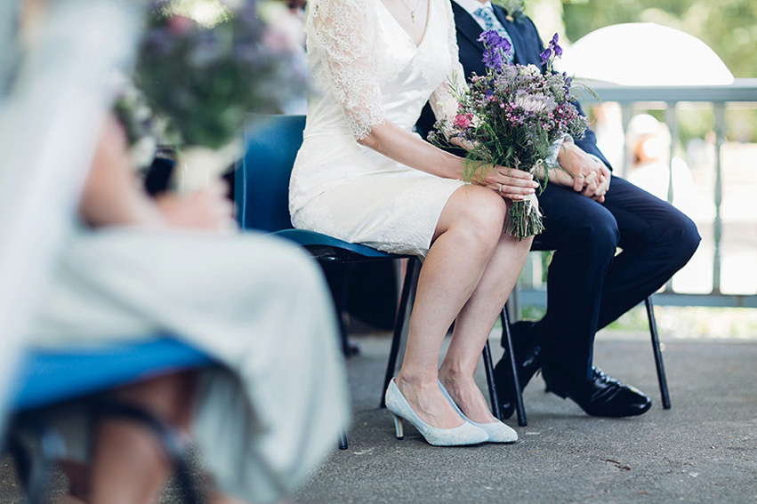 A Short Lace Dress for A Flower Filled, Summer Bandstand Wedding (Weddings )