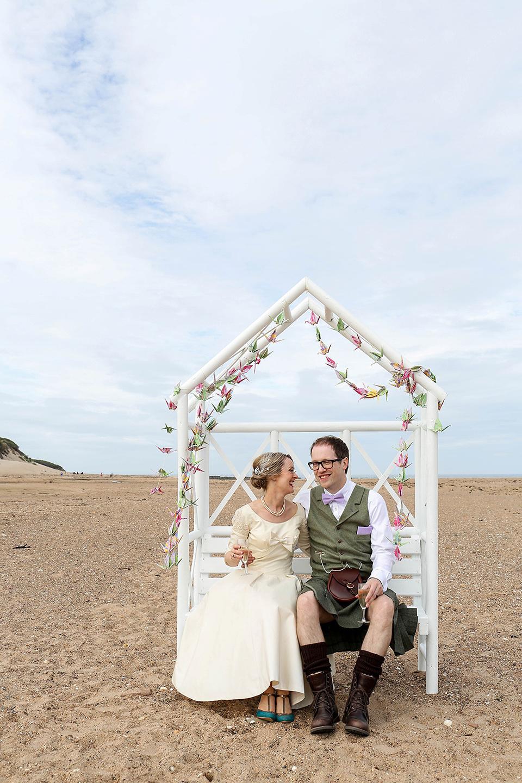 Vintage 1950s Inspired Humanist Beach Wedding in Scotland