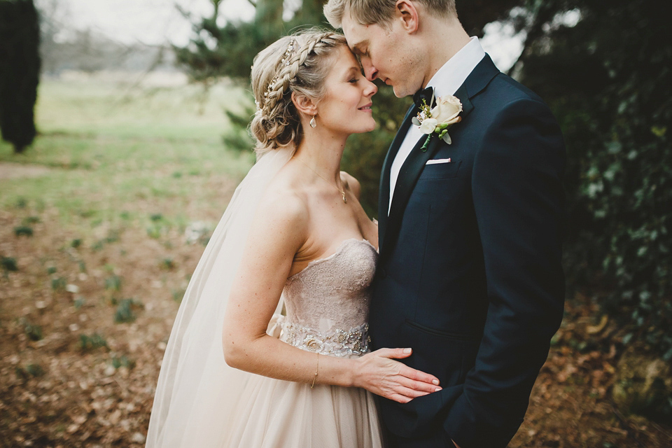 A Blush Pink Watters Gown for an Elegant Late Winter Wedding at Iscoyd Park