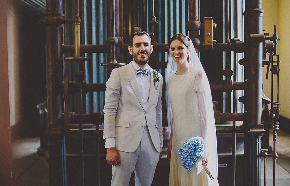 A Belle and Bunty Gown for a Quirky London Wedding in Shades of Blue