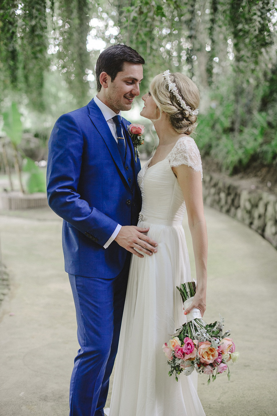 A Suzanne Neville Gown and Pretty, Floral Crown for a Travel Inspired Wedding in Portugal