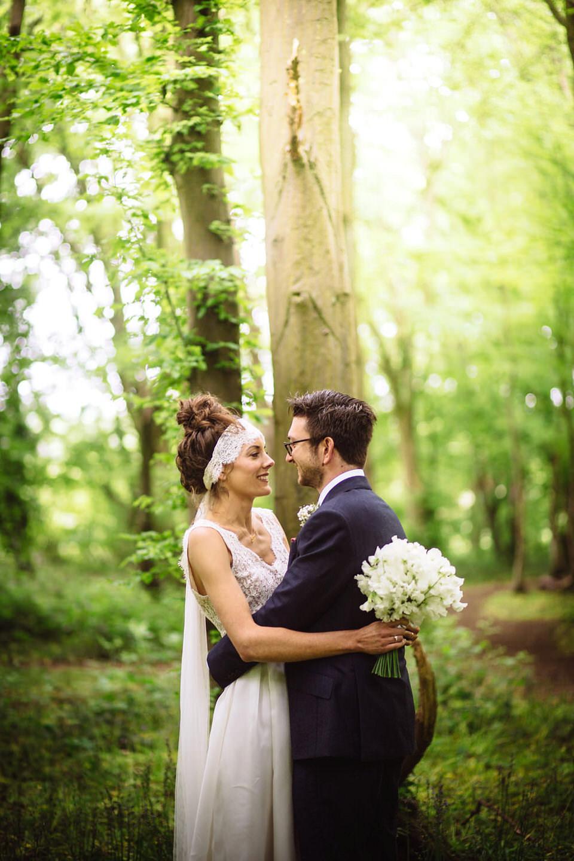 A Rime Arodaky Dress and Lace Headband For A Daisy Inspired Farm Wedding