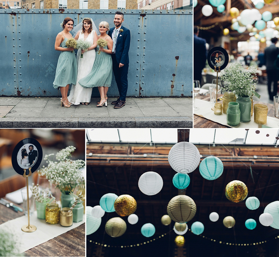A Charlie Brear Gown for a Mint Green, Gold and Glittery London Lovettes Wedding (Weddings )
