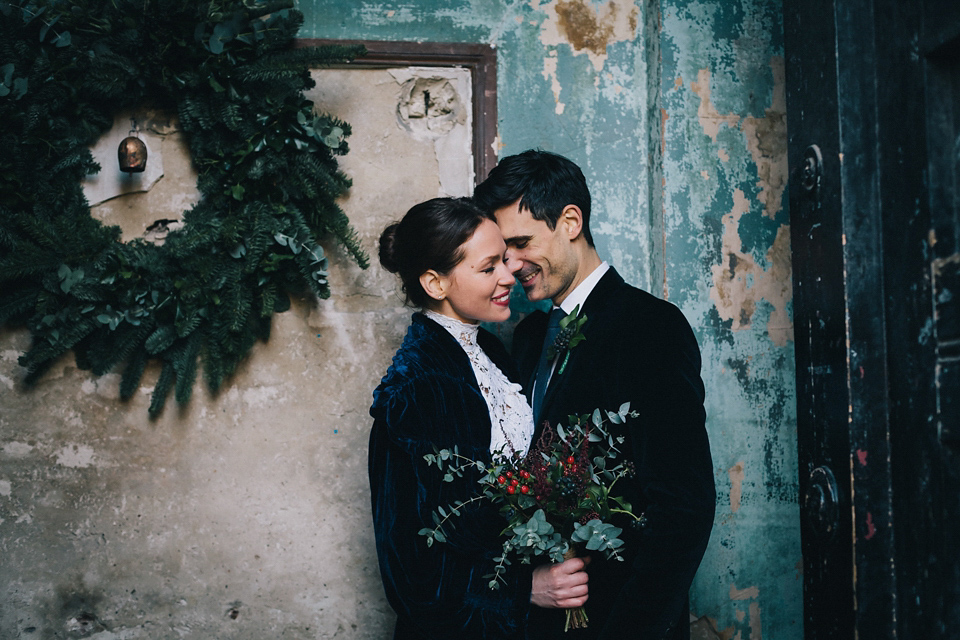 A Blue Velvet Winter Wedding
