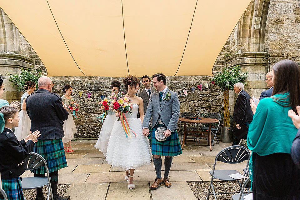 A Tiered Wedding Dress for a Colourful and Quirky Outdoor Humanist Ceremony (Weddings )