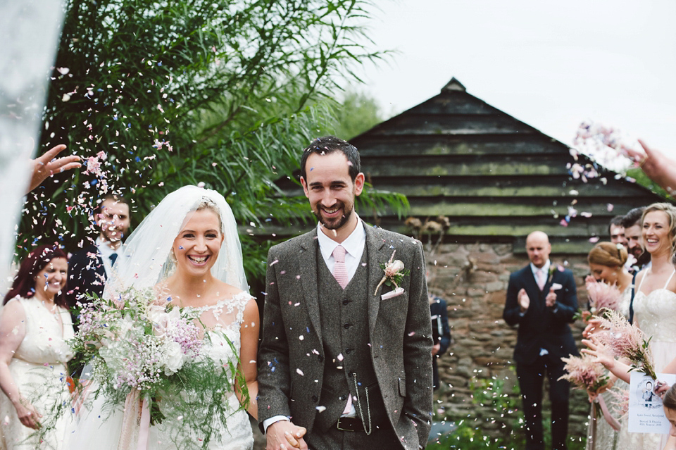 A Bride in Stella York and a Joy-Filled Barn Wedding in Shades of Pink and Gold