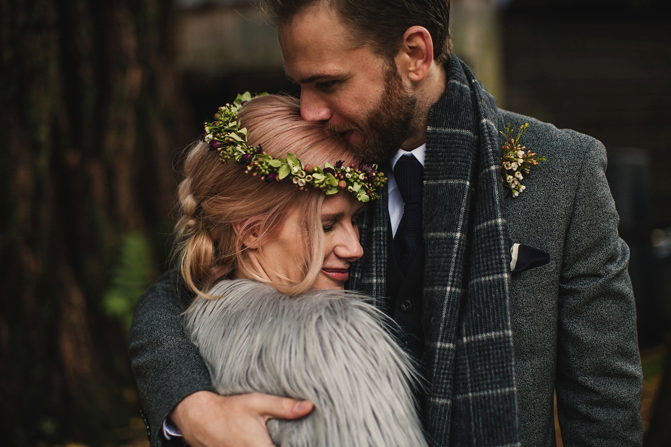 Iris by Claire Pettibone for an Intimate and Slow Paced Outdoor Winter Wedding