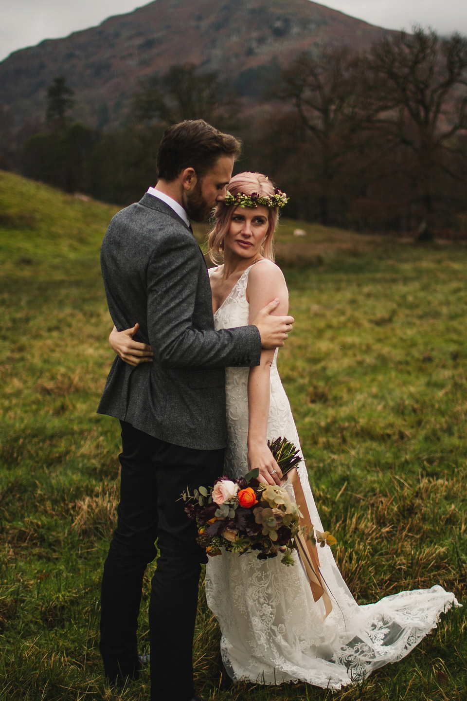 Iris by Claire Pettibone for an Intimate and Slow Paced Outdoor Winter Wedding (Weddings )