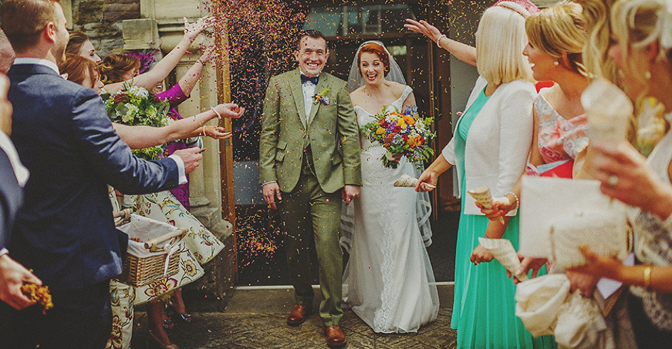 Stephanie Allin Off-The-Shoulder Elegance For a Colourful Retro Vintage Inspired Wedding
