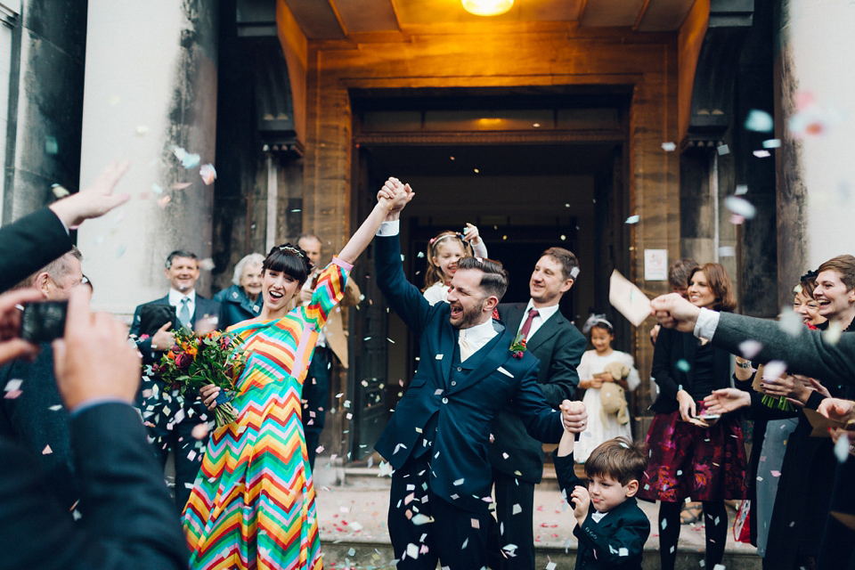 A Colourful Rainbow Valentino Dress for a Cool and Quirky London Pub Wedding in Winter