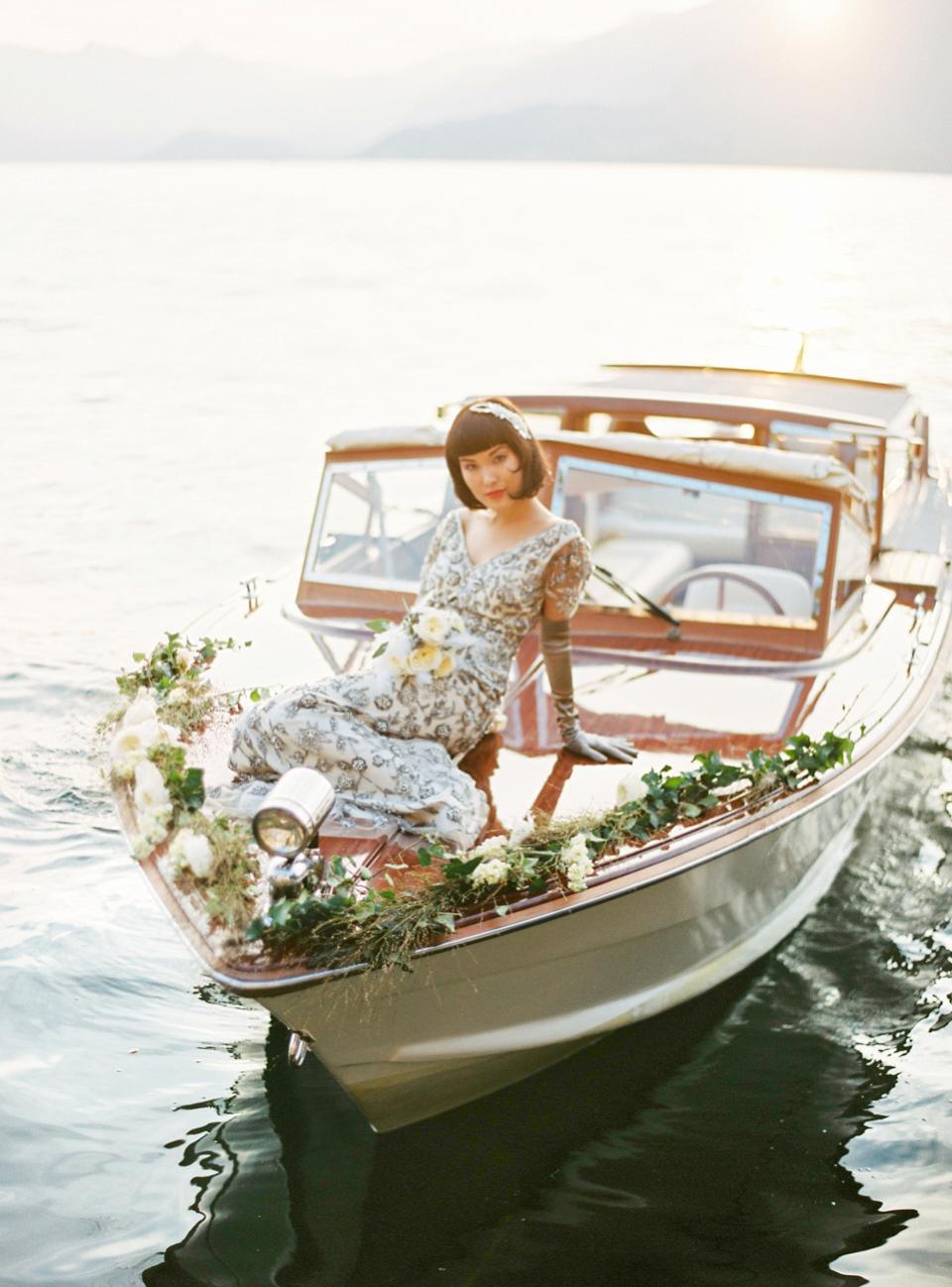 1920's Jazz Age Inspired Bridal Glamour on Lake Como (Styled Shoots )