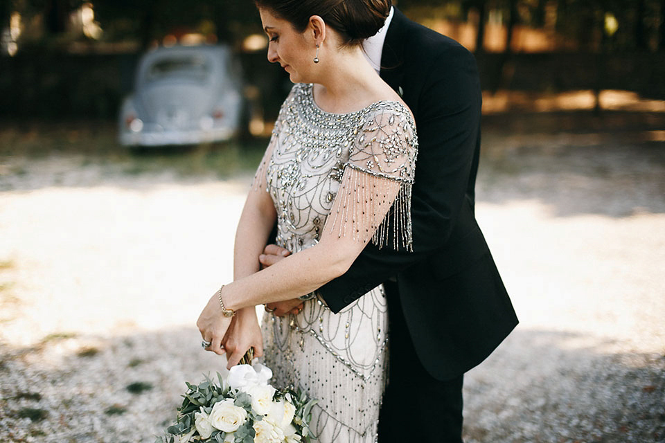 Eliza Jane Howell Beaded Gown Glamour for an intimate wedding in Tuscany