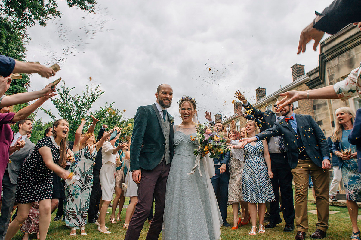 A Pale Green Dress and First Look for a Feminist Wedding in Yorkshire (Weddings )