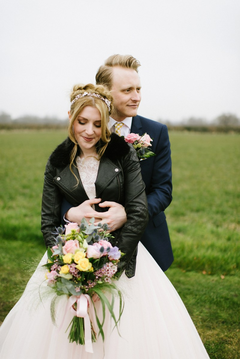 A Blush Pink Gown and Leather Jacket for a Lovely Spring Barn Wedding