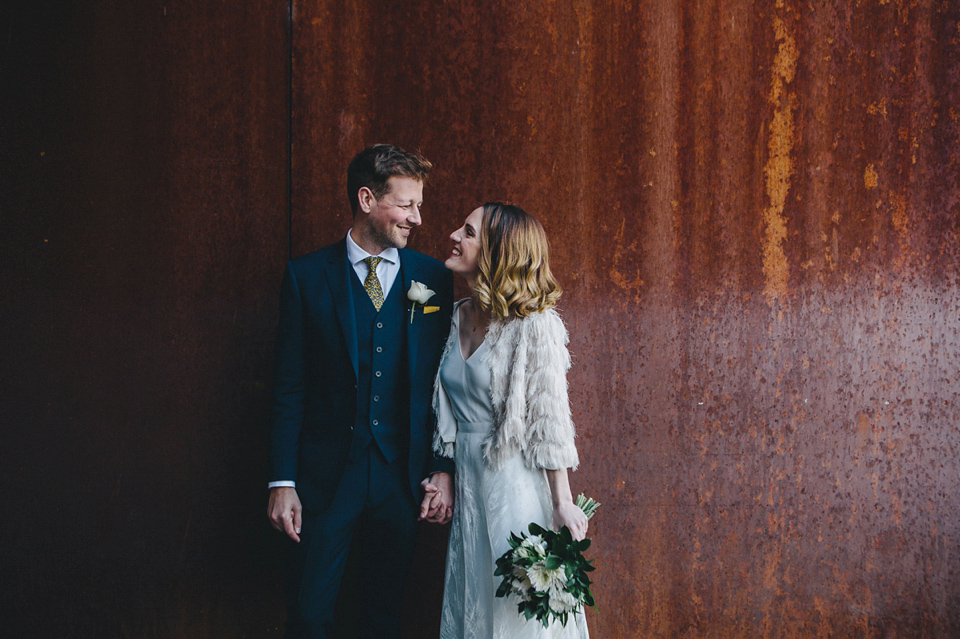 Katherine wears a Charlie Brear gown for her wedding at the Baltic Gateshead. Photography by The Twins.