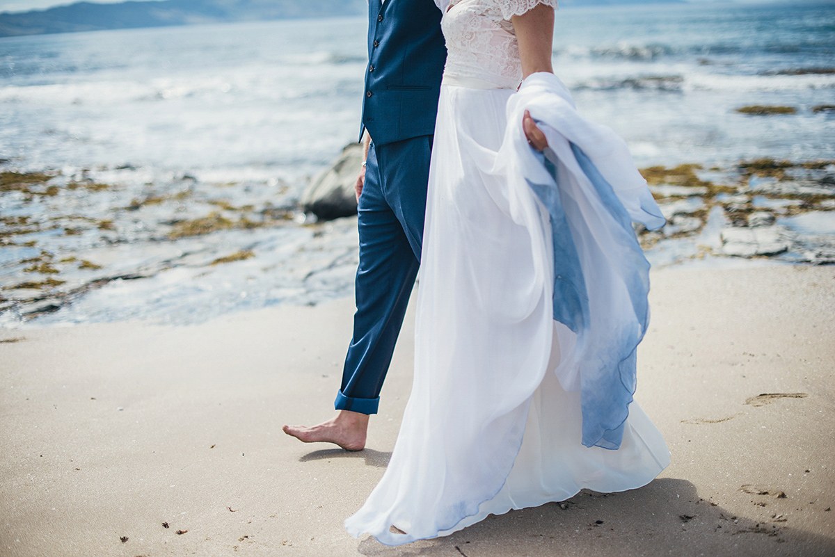 barefoot bride beach new zealand blue ombre dip dye wedding dress ombre wedding dress A Beautiful Blue Ombre Wedding Dress for a Barefoot Beach Wedding Weddings