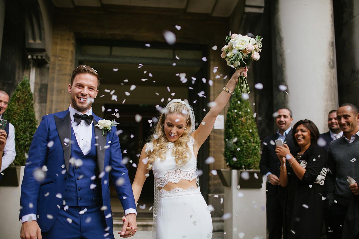 Rime Arodaky Separates and a Polkda Dot Veil for a Cool East London Wedding at MC Motors