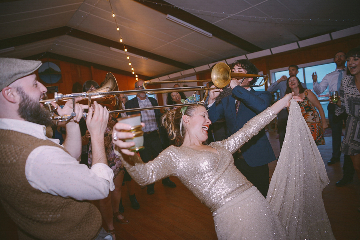 A Glamorous Gold Sequin Dress for a Relaxed and Fuss Free and Handmade Seaside Wedding (Weddings )