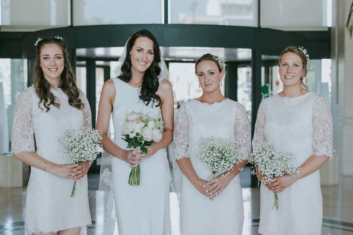 A Charlie Brear Bride Gown and Bridesmaids in White for a Romantic Spanish Wedding