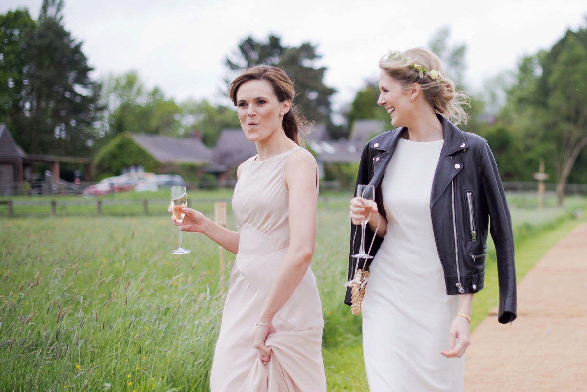 A Black Leather Jacket and Belle & Bunty Gown for a Romantic Wildflower Meadow Wedding