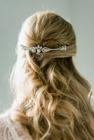Anna silvered headpiece by Halo & Co