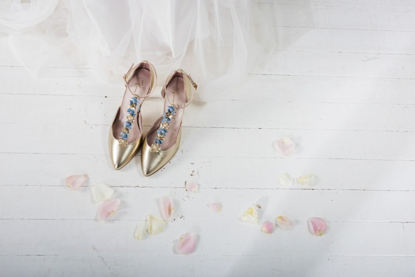 Sahara floral champagne shoes by Harriet Wilde