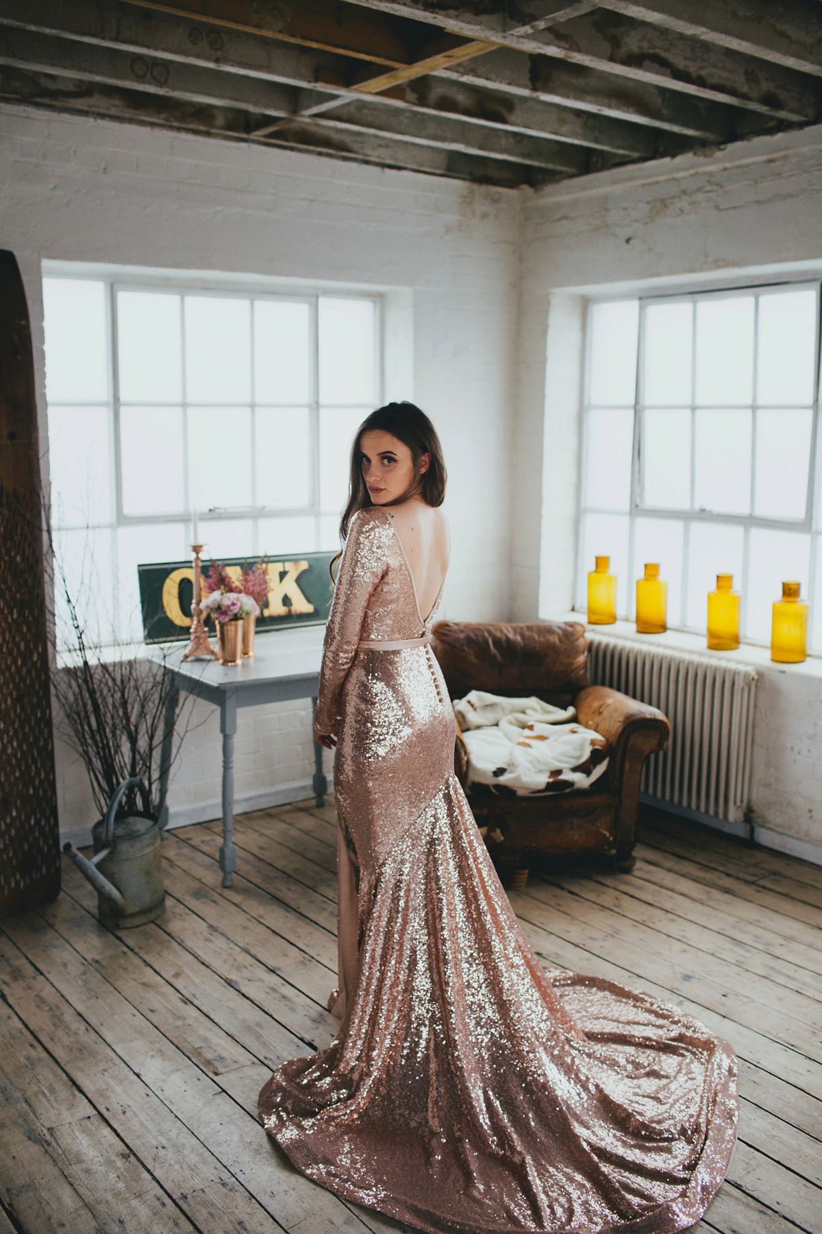 A Pink Sequin Gown for an Earth-friendly and Vegan London Wedding