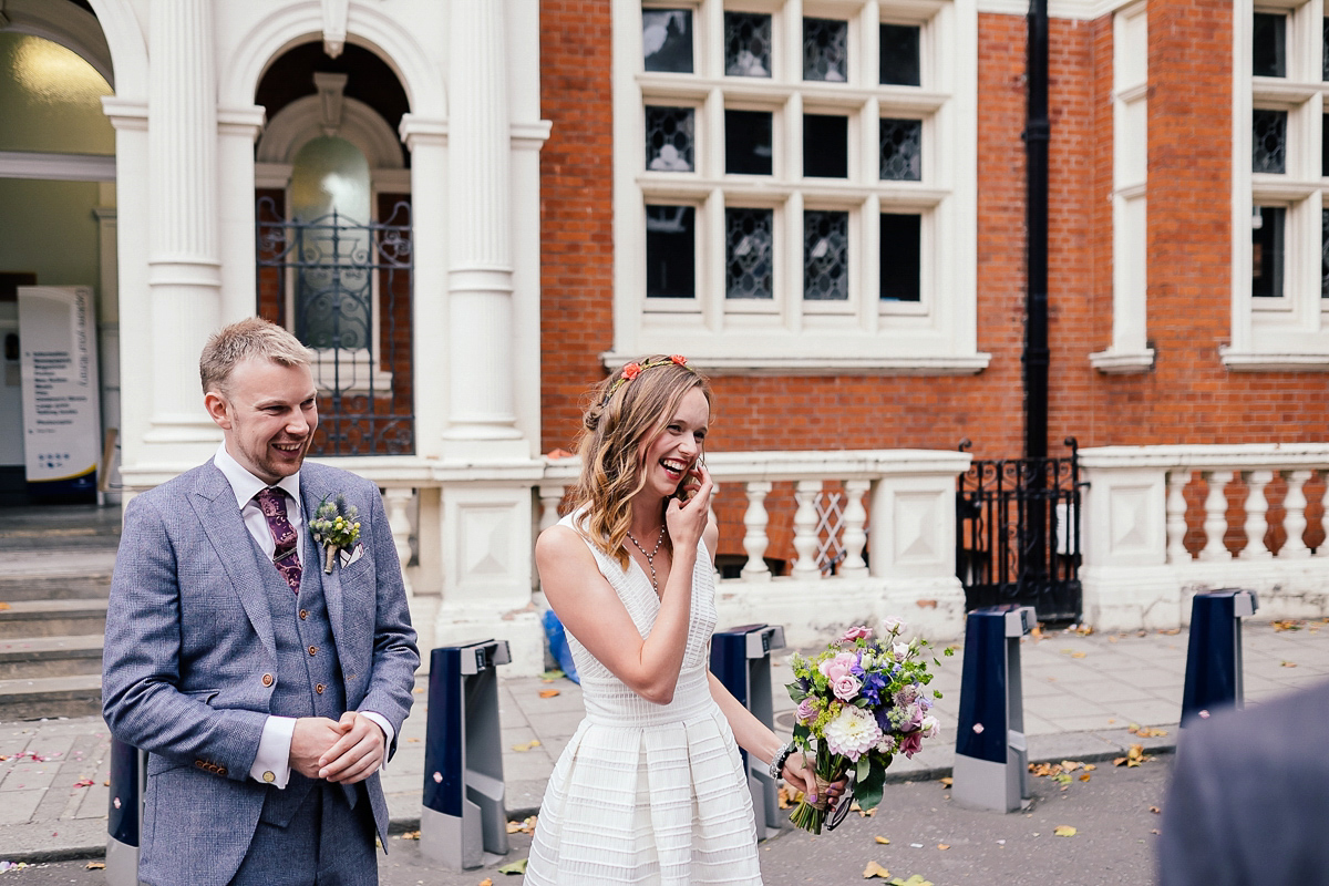 A Short Reiss Dress with Pockets for a Relaxed and Intimate London Wedding (Weddings )