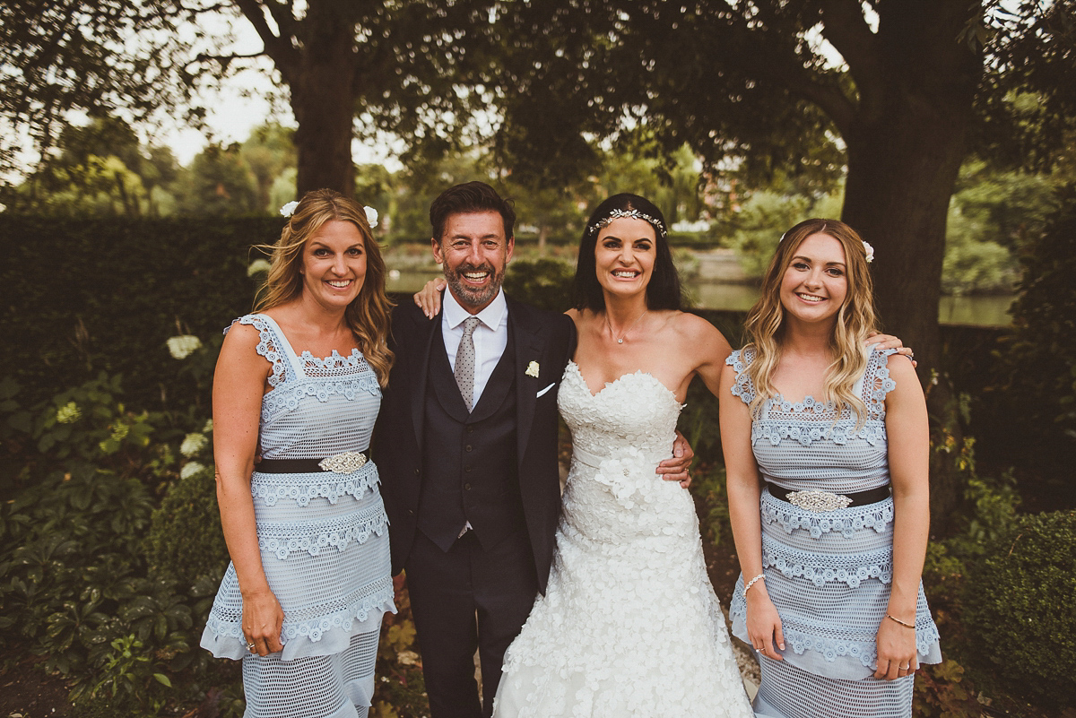 An Ian Stuart Bride and Her Bridesmaids in Pale Blue Self Portrait Dresses