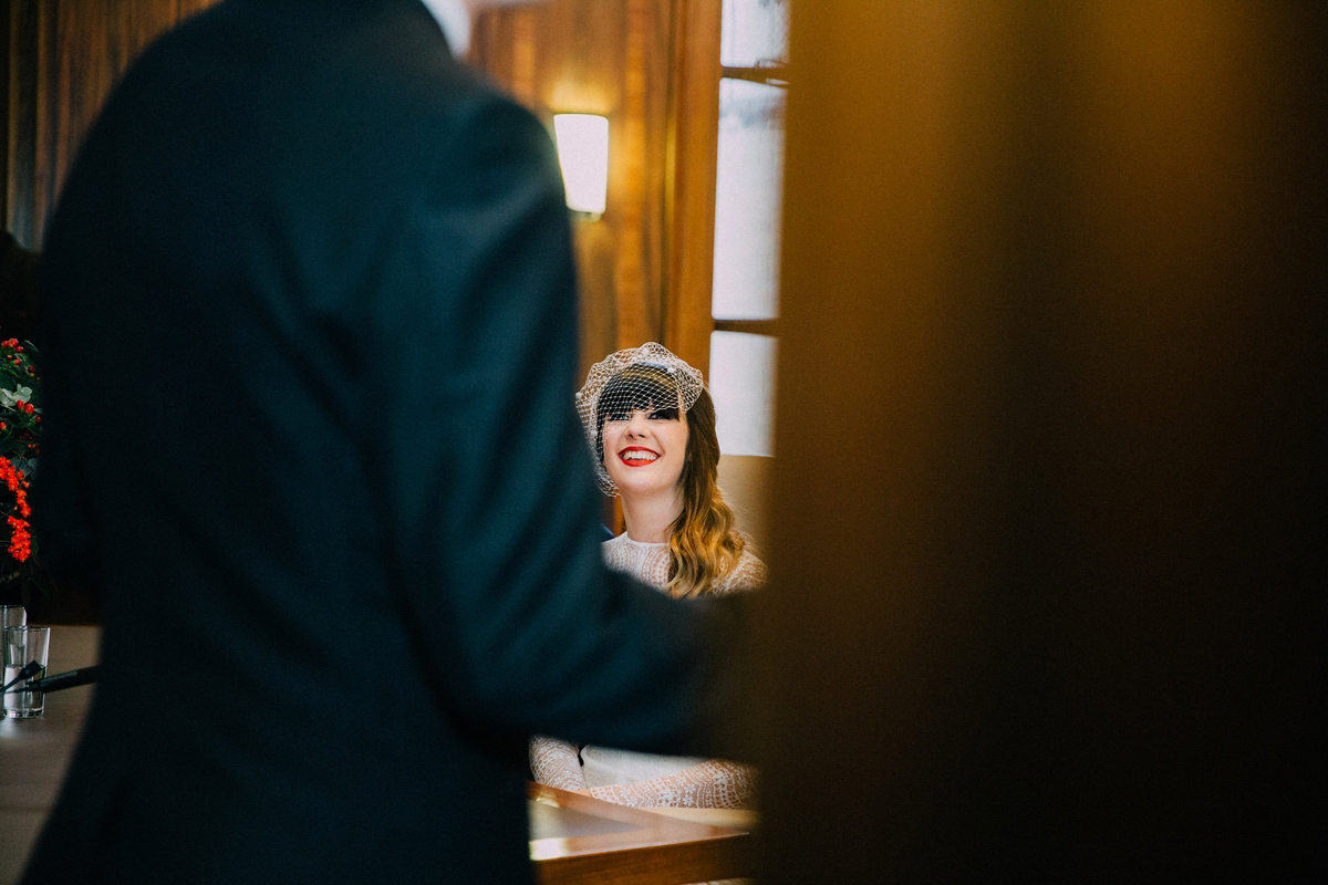 A Long Sleeved Jesus Peiro Dress for a Cool, Modern, London Pub Wedding (Weddings )