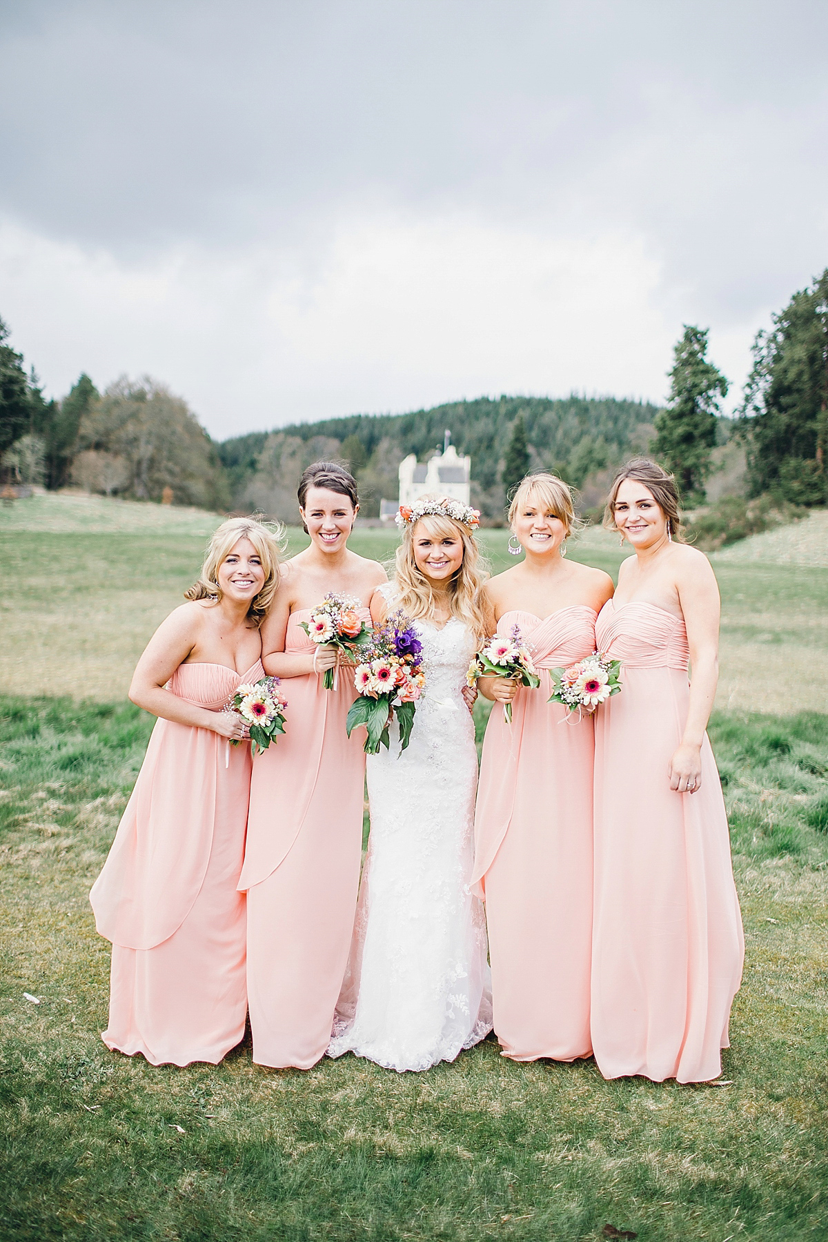 A Peach Toned Flower Crown and Essense of Australia Gown