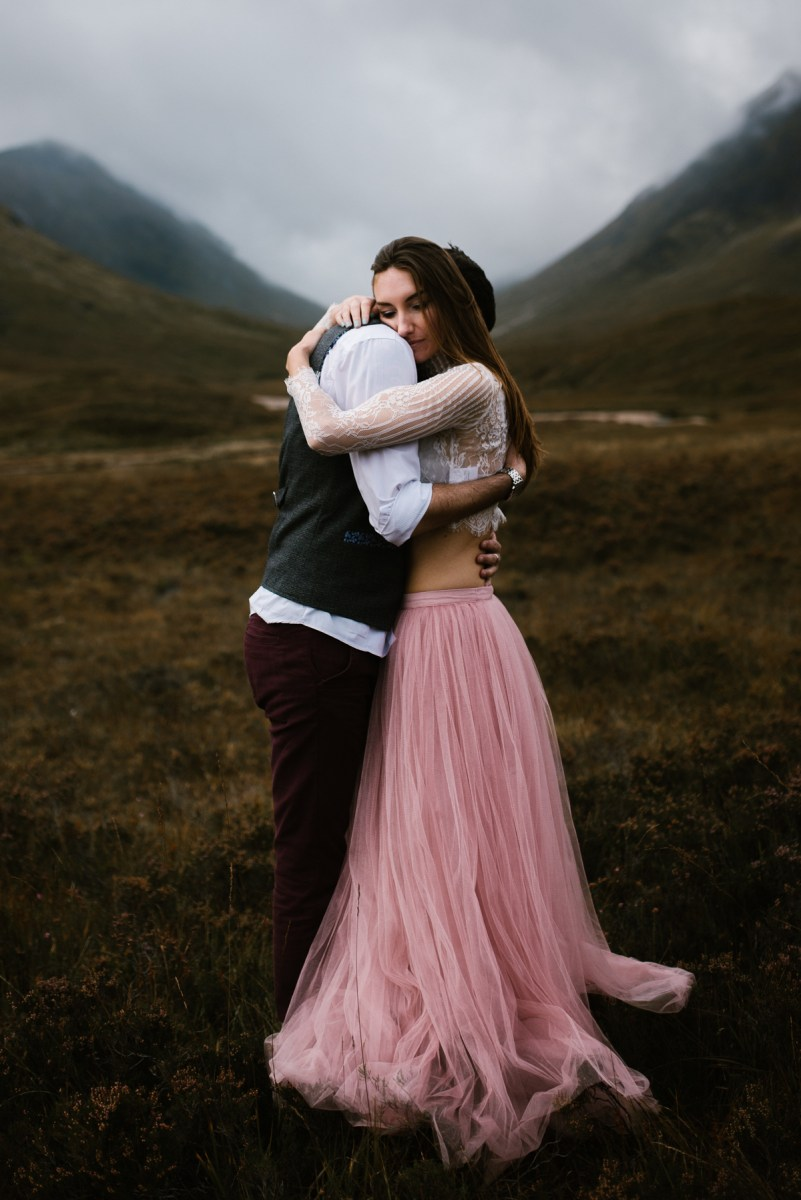 Soft Pink Tulle for a Beautiful Engagement Session in the Scottish Highlands