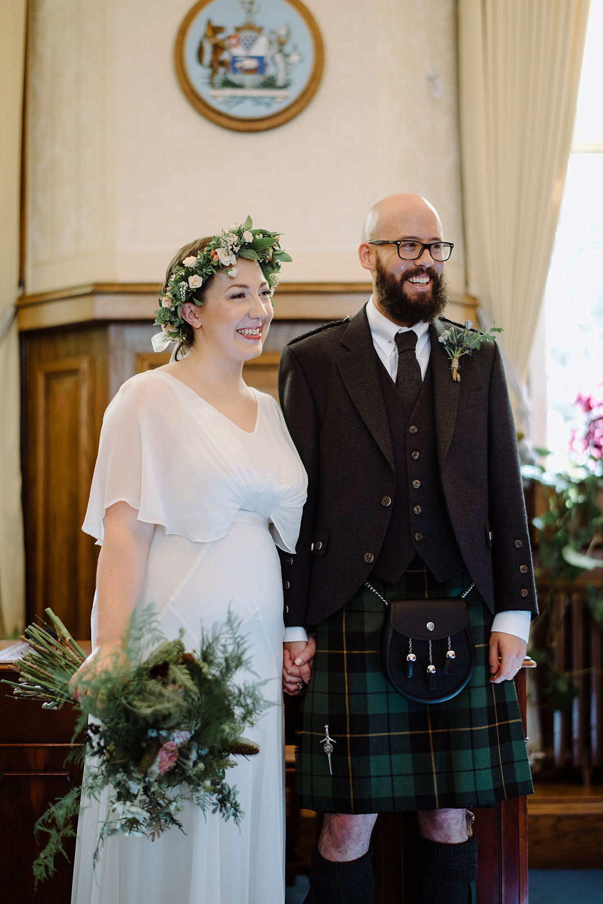 A Vintage Ghost Gown for a Forest Inspired City Wedding (Weddings )
