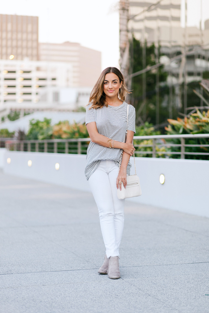 distressed white denim jeans