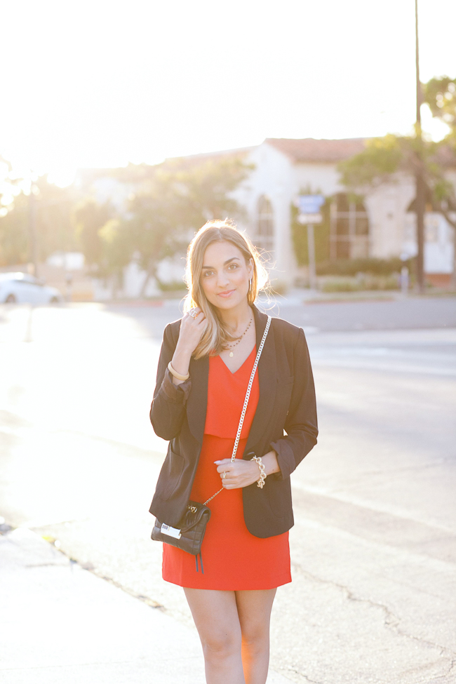 red dress black blazer