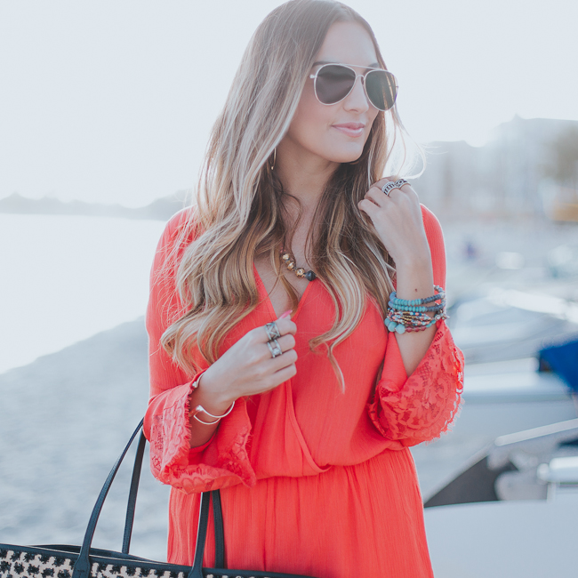 Guess Bell Sleeve Coral Romper-5