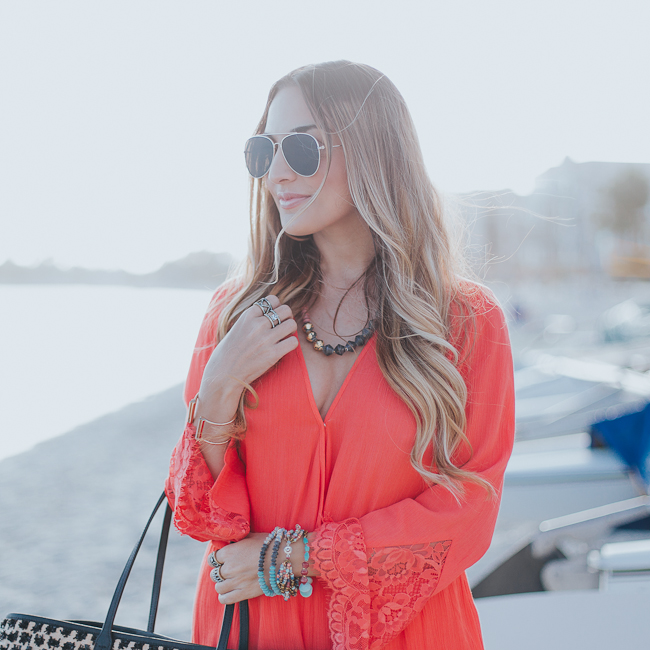 Guess Bell Sleeve Coral Romper-6