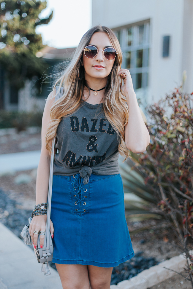 Guess Lace Up Denim Skirt-14