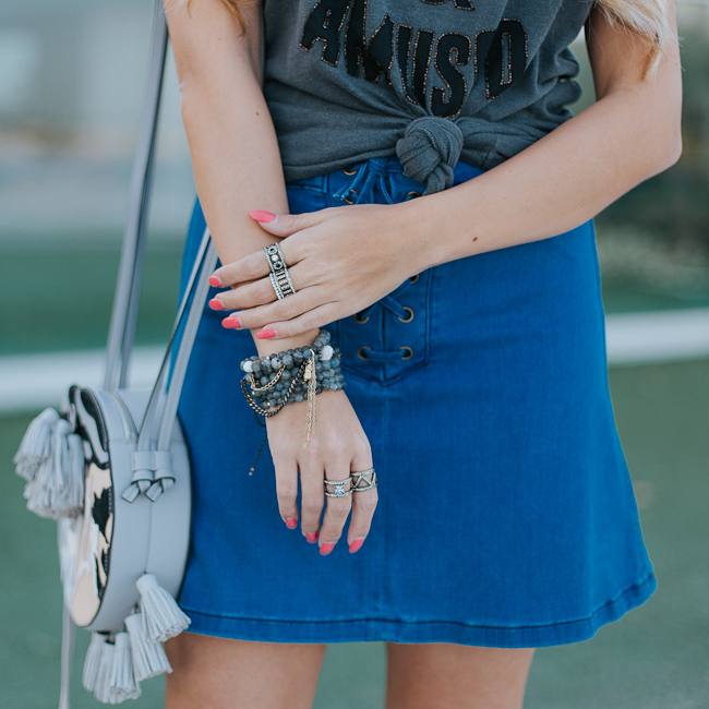 Guess Lace Up Denim Skirt-7