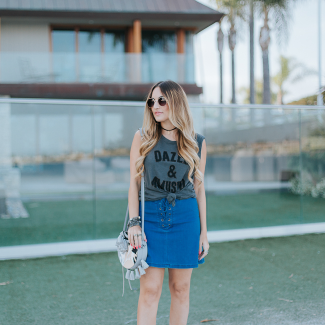 Guess Lace Up Denim Skirt